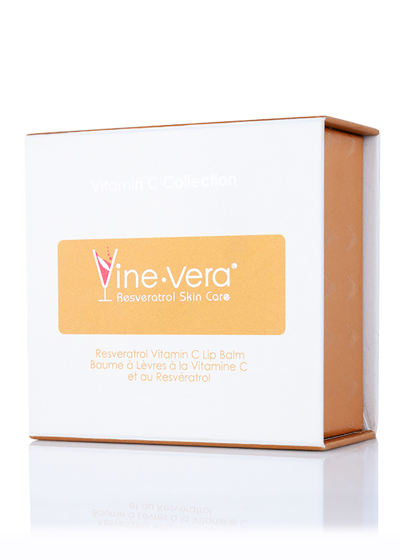 Vine Vera Resveratrol Vitamin C Lip Balm in its case